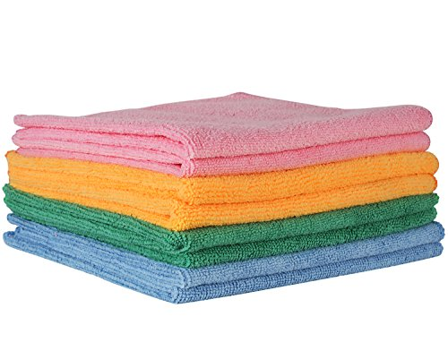 Comfit Microfiber Cloth- 16″ By 16″, Pack of 8. Premium Cleaning Cloth for Home, Car, Boat. Home Essential Cloth for Dusting Furniture, Wiping Down Appliances, and Polishing Stainless Steel.