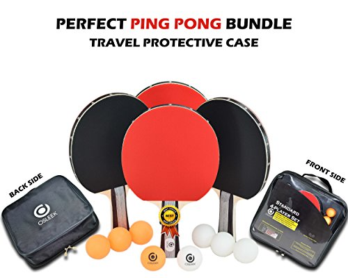 Osleek Ping Pong Paddle Set - 4 Rackets 8 Balls Professional/Recreational Table Tennis Bundle | Durable 5 Layer Blade, Performance Rubber for Control, Spin & Speed | Packed in Protective Travel Case by Osleek (Image #5)