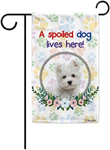 BAGEYOU A Spoiled Dog Lives Here Floral Spring Garden Flag Summer Wreath Flower Maltese Paw Print Yard Banner for Outdoor Printed Double Sided 12.5 X 18 Inch