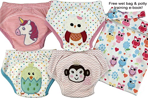 Potty Training Pants Training - 4 Pack Potty Training Pants/ 4 Layered Underwear for Toddlers   Washable & Resuable   Soft Cotton   Comfortable Fit for Your Baby (Girls, Small)