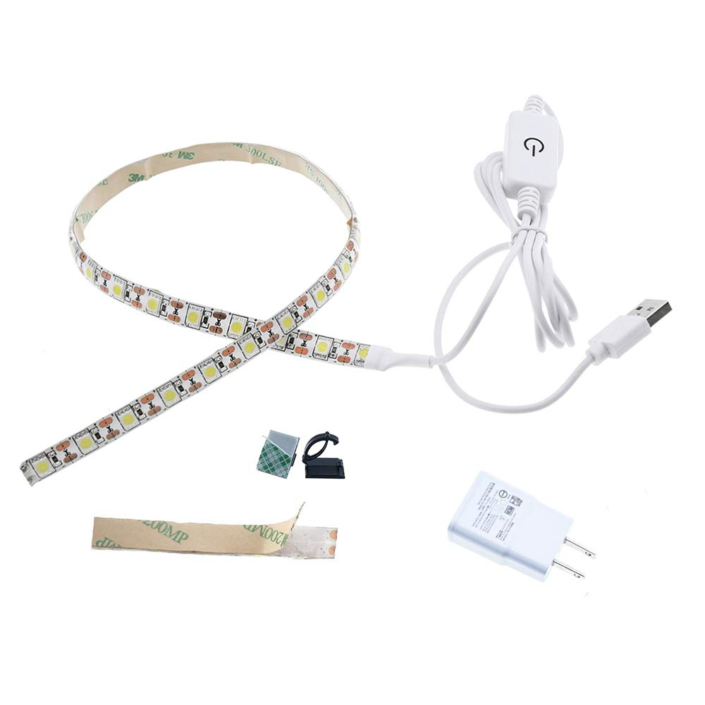 LuxVista Sewing Machine Adhesive LED Lighting Strips with Touch Dimmer 5V USB Power Supply 3M Adhesive Tape Clip3 Fits for All Sewing Machines