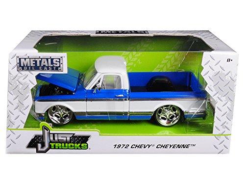 Cheyenne Pickup (1972 Chevrolet Cheyenne Pickup Truck Blue/White 1/24 Diecast Car Model by Jada 99046)