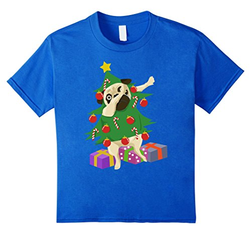 Kids Dabbing Christmas Tree Pug Funny Dog Lover Holiday T Shirt 10 Royal Blue