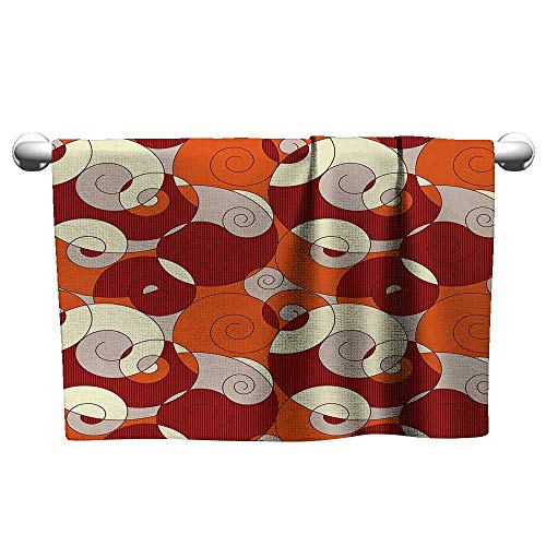 (xixiBO Travel Towel W39 x L10 Abstract,Abstract Bold Spiral Motifs Circled Modern Pattern with Stripe Details,Orange Ruby Ivory Lighter Weight Quick-Drying Towel)