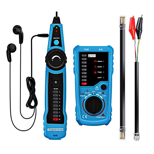 Muzerdo RJ11 RJ45 Wire Tracer Ethernet LAN Network Cable Tester for Network Cable Collation, Telephone Line Tester, Continuity Checking (Lan Generator Tone)