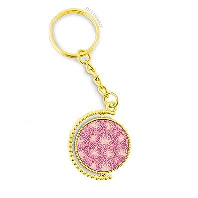 Amazon.com: Llavero de metal con diseño de flores rosas para ...