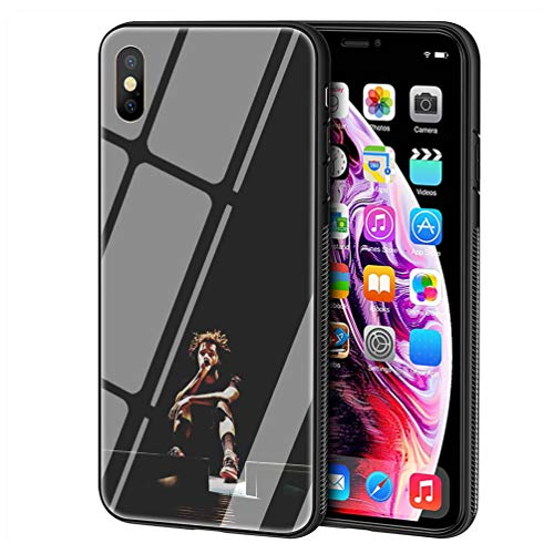 LBIAO 9H Tempered Glass iPhone 7/8 Cases, LB-109 Singer pop j Cole Design  Printing Shockproof Anti-Scratch Soft Silicone TPU Cover Phone Case for