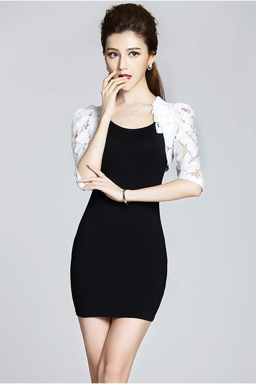 Women Half Sleeve Lace Shrug Open Front Cardigan