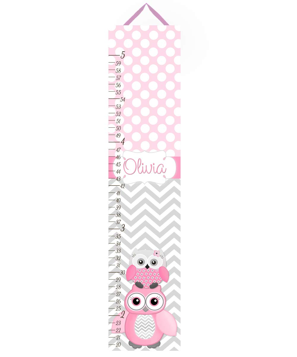 Toad and Lily Canvas GROWTH CHART Pink Gray Owl Zig Zag Chevron Girls Bedroom Baby Nursery Wall Art GC0021 by Toad and Lily