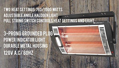 Comfort Zone Ceiling Mount Quartz Heater 1 Size Black