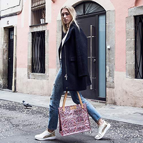 Rosa Azteca Milano estampada Branni Bolso piel de Shopper 1nZzAa