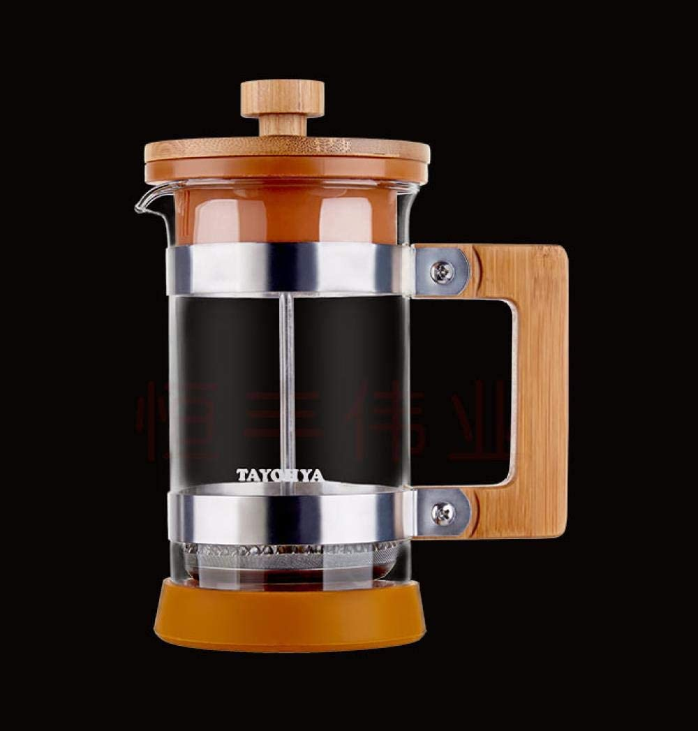 Hokaime Máquina de café y té de Prensa Francesa, Filtro de Olla a presión de Madera, Olla de té, cafetera de Mano portátil Japonesa, Cubierta de bambú de Malla Fina, 400 ml: