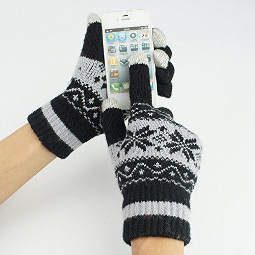 sheng Toucher des gants hommes et femmes hiver laine jacquard neige laine tactile gants