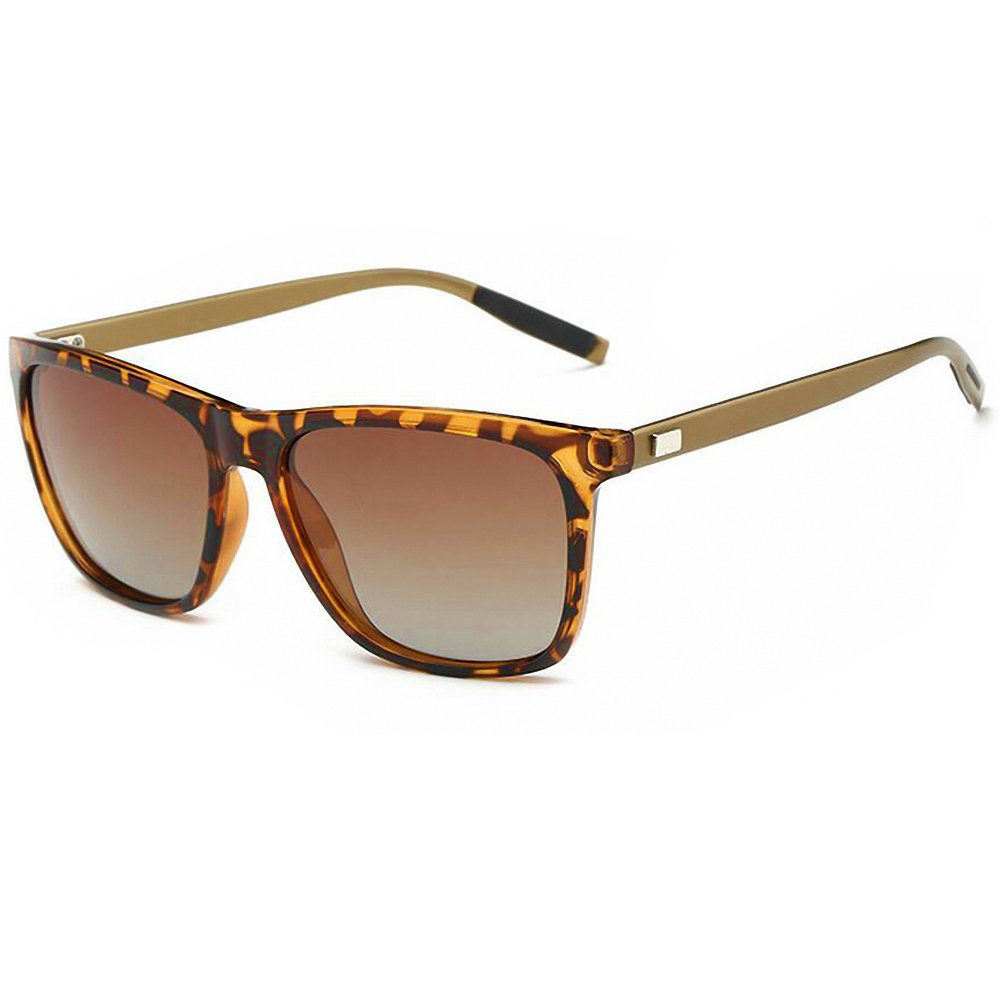 PROSHADE Classic Polarized Wayfarer Sunglasses Square for Men Women 55mm Driving Metal Arms Tortoise Frame Brown Lens (Brown & Brown)