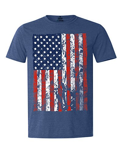 Shop4Ever United States of America Flag T-shirt USA Flag Shirts Large Heather Royal - America Shirt Flag