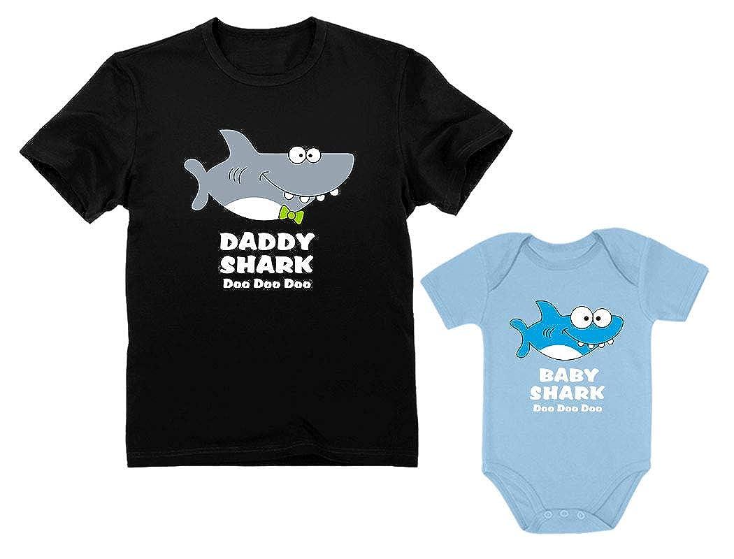 c8b8f78d578d Amazon.com  Baby Shark Bodysuit   Daddy Shark T-Shirt Doo Doo Doo Funny Set  Newborn   Dad  Clothing