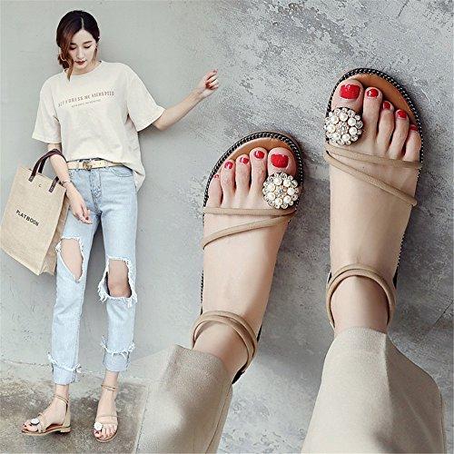 Plana Y Color Romana Cremallera 1 Y Mujeres Las Base Sandalias Sencilla MeiMei Plana con De Zapatos De Playa Kit Mujer Versátil 1ZfwYwxR