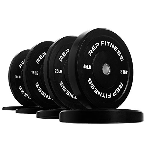 Rep Bumper Plates for Strength and Conditioning Workouts and Weightlifting 190 lb Set (Olympic Bumper Weight Set)