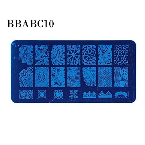 Unknown Nail Art Stamping Plate DIY Nail Polish Stamper Tool Stainless Steel Manicure Stamping Template Debossed Print Stamp Kits (Bbabc10)