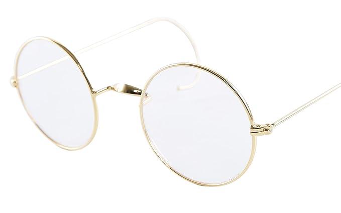 547a431ade Amazon.com  Agstum Retro Round Optical Rare Wire Rim Eyeglass Frame 49mm (Without  Nose Pads) (Gold