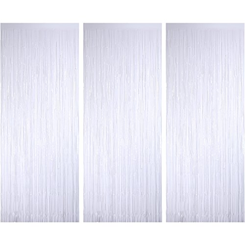 Sumind 3 Pack Metallic Tinsel Curtains, Foil Fringe Shimmer Curtain Door Window Decoration for Birthday Wedding Party (White)]()