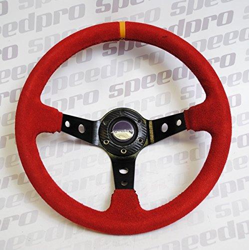 Speedpro Flat Racing Steering Wheel 350MM Suede Leather Deep Dish Steering Wheel (Red)