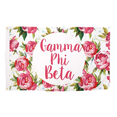 Gamma Phi Beta Rose Pattern Letter Sorority Flag Greek Letter Use as a Banner 3 x 5 Feet Sign Decor Gamma - Beta Greek Letter