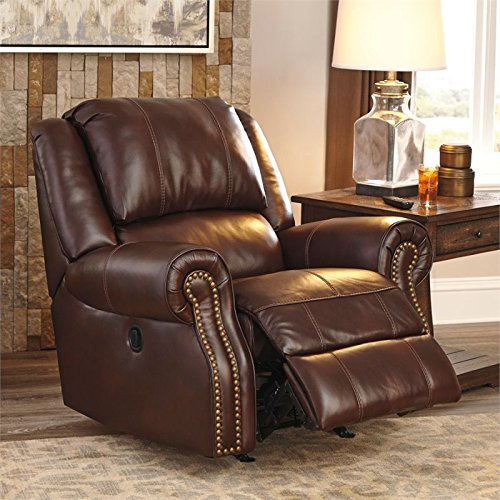 - Ashley Furniture Signature Design - Collinsville Rocker Recliner - Manual Reclining Chair - Contemporary Style - Chestnut Brown