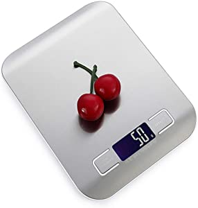 Household Kitchen Electronic Scales-flat-stainless Steel Food Scales-kitchen Household Scales Electronic Scales Gram Scales: Maximum Weighing: 5KG,Silver
