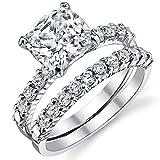 Fabulous Cushion Cut Cubic Zirconia Sterling Silver 925 Wedding Engagement Ring Band Set 5
