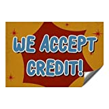 CGSignLab |''We Accept Credit -Nostalgia Burst'' Heavy-Duty Industrial Self-Adhesive Aluminum Wall Decal | 27''x18''