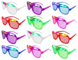 Set of 12 VT Flashing LED Multi Color Slotted Shutter Light Up Show Party Favor Toy Glasses (Colors May Vary)