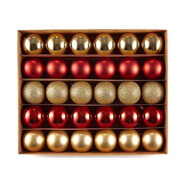 HEITMANN DECO Krebs & Sohn Set di 30 Palline di Natale in Vetro - Albero di Natale Deco Appeso - Palle di Natale - Rosso Oro 1 spesavip