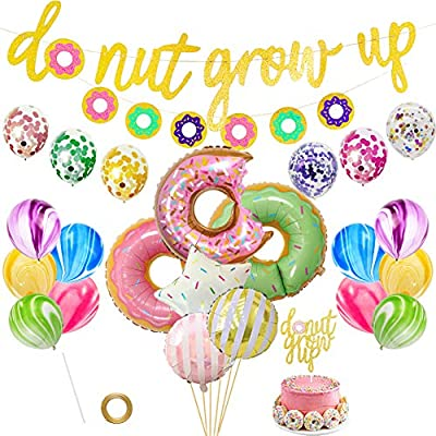 LOCCA Donut Party Supplies Kit, Donut Grow Up Birthday Party Favors Set for Boys/Girls/Kids, Donut Grow Up Banner Cake Topper Balloons for Donut Bday Baby Shower Party Decorations: Toys & Games