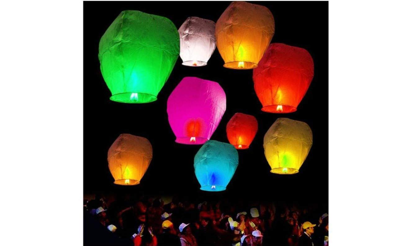 Sky Lanterns 100% Biodegradable and Environmentally Friendly Paper Lanterns Multi-Color Assortment for Events, Birthdays, Weddings, Parties, New Years, Memorial Ceremonies and More (10 Pack)