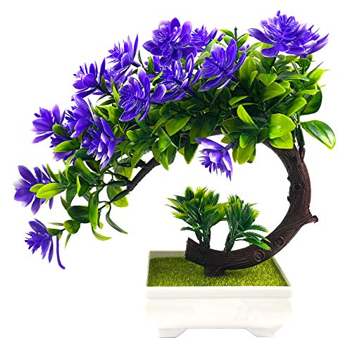 IBEUTES Artificial Topiary Plants in Pot Fake Green Bonsai Purple Blossom Tree Decoration for Home Office Desktop Unique Gift