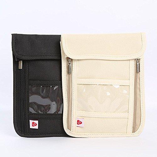 RFID anti-theft folder,travel passport bag, multifunctional hanging neck bag black by CutePaw (Image #1)