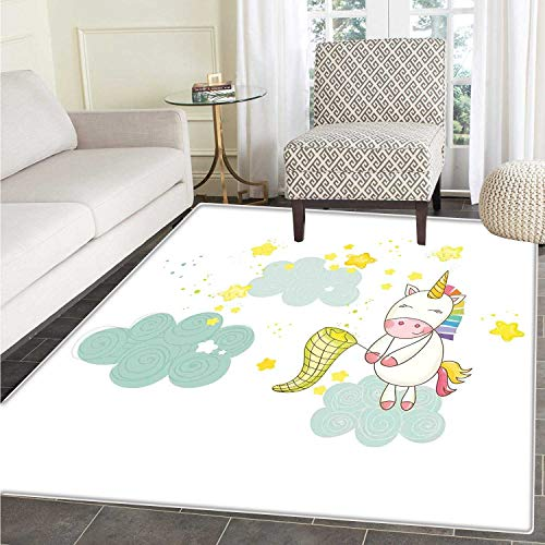 Unicorn Area Rug Carpet Baby Mystic Unicorn Girl Sitting on Fluffy Clouds and Hunting Nursery Image Print Living Dinning Room and Bedroom Rugs 3'x4' Green Yellow