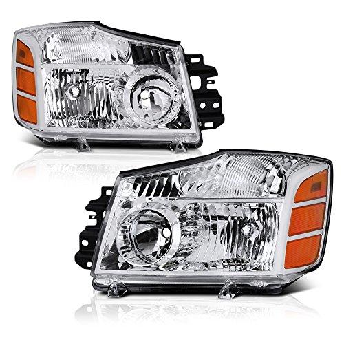 VIPMOTOZ Chrome Housing OE-Style Headlight Headlamp Assembly For 2004-2015 Nissan Titan & 2005-2007 Armada, Driver & Passenger Side - Nissan Titan Armada Headlamp Headlight