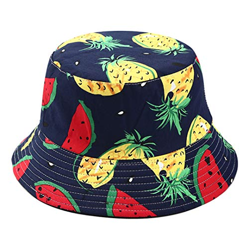 Joylife Fruit Print Bucket Hat Banana Pattern Fisherman Hats Summer Reversible Packable Cap (Watermelon Pineapple Navy) -