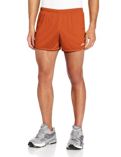 ASICS Men's Interval 1/2 Split Shorts, Orange/White, Large
