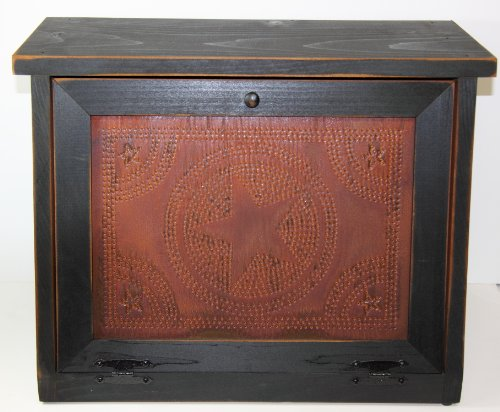 Country Rustic Primitive Bread Box with Rusty Star Design Punched Tin Black by KWC