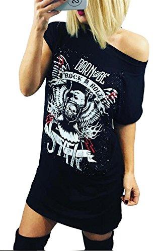 Qicool Womens Fashin Short Sleeve Punk Printed Hip Hop Tunic Tops Midi Dress T Shirts