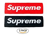 Latest Supreme Style Headband, 2 PACK(RED + Black) Headband for Men, Boys, Girls - Popular Fashion Headband Best for Workout, Tennis, Running, Basketball