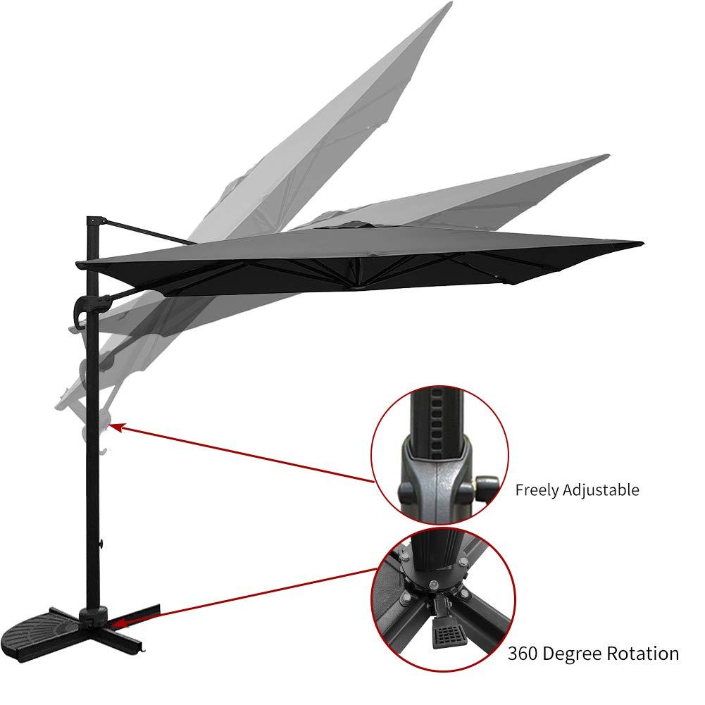 SUNGREEN Offset Patio Deluxe Umbrella 10ft Rectangular Outdoor Cantilever Umbrella with Cross Base Aluminum Pole 360 Degree Rotation for Backyard Deck Poolside-Grey