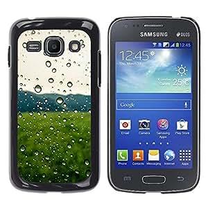 YiPhone /// Prima de resorte delgada de la cubierta del caso de Shell Armor - Gotas de lluvia Campo Verde - Samsung Galaxy Ace 3