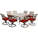 Hanover TRAD9PCSWSQ8-RED Traditions 9-Piece Eight Swivel Rockers Dining Set, Red