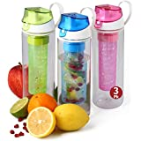 Fruit Infuser Water Bottle 3 Pack – 25oz infused water bottle- unique fun and healthy infusion rod infuser bottle for kids and adults - Multicolor Set- by Herevin