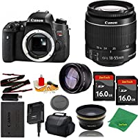 Great Value Bundle for T6S DSLR – 18-55mm STM + 2PCS 16GB Memory + Wide Angle + Telephoto Lens + Case