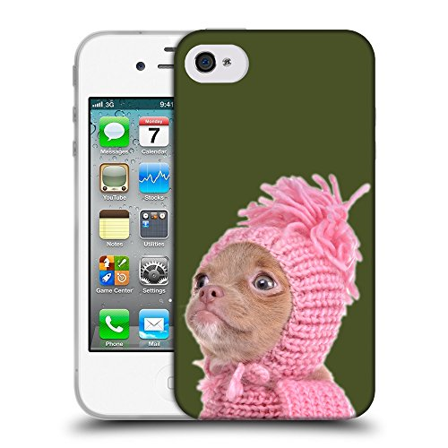 GoGoMobile Coque de Protection TPU Silicone Case pour // Q05690605 Chihuahua chapeau Army Green // Apple iPhone 4 4S 4G